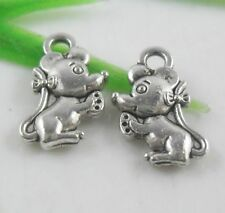 40pcs Tibetan Silver Adorable Small Mouse Charms Pendants 7x12mm  (Lead-free)