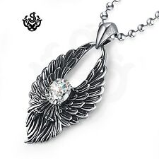 Silver wings clear simulated diamond soft gothic pendant necklace vintage style