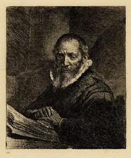 Portrait de Jan Cornelis Sylvius d'après Rembrandt - Eau forte XIXème siècle