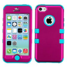 Apple iPhone 5C Rubber IMPACT TUFF HYBRID Case Skin Phone Cover Rose Pink Teal