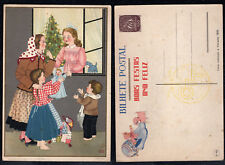 1944 Portugal Christmas Postcard Stationery PPC Unused #80. Toys.