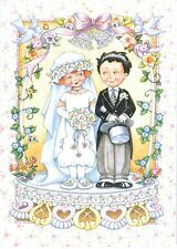 Mary Engelbreit-Bride Groom Wedding Cake-Blank Greeting Card w/Envelope-New!