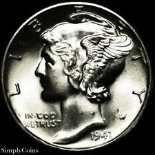 New listing 1941-D Mercury Silver Dime ~ Gem Bu Uncirculated Fb Full Bands ~ A-Sku-3407