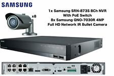 Samsung 4MP Network HD 1080p 8x Bullet Cameras & 1x 8CH PoE NVR 2TB CCTV Package