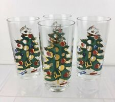 MCM Set 4 Vtg Federal Glass Christmas Tree weighted Highballs Tumblers Gold 5.5""