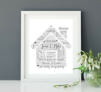 House / Home Word Art Print - Personalised House Warming / New Home Gift