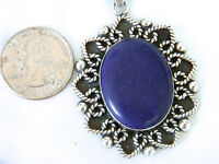 "Lapis Lazuli & Sterling Heart Rope Edged Pendant Mexico w/ 20"" Necklace Italy"