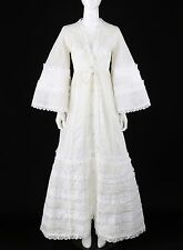 Vtg THE PEACOCK c.1970s White Bell Sleeve Lace Detail Boho Mexican Wedding Dress