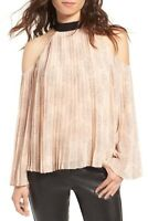 NWT Chelsea28 2XS Top Pleated Cold Shoulder Blouse H275