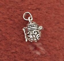 STERLING 925 SILVER TREASURE CHEST CHARM PENDANT 12mm x 10mm MOVABLE FASTENING