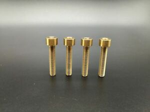 4 Pieces M5x25mm Titanium Ti Gold Allen Hex Socket Cap Head Bolts Screw
