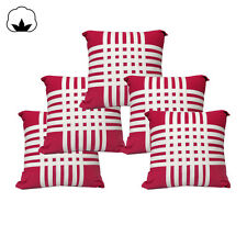 Pack of 5 - Cotton Hot Pink Ribbons Bedroom Square Cushion Covers 40x40cm