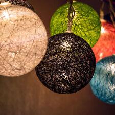 10x bunte LED Leucht Kugel Kette Party Garten Lichterkette
