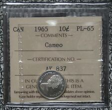 1965 CANADA - 10 CENTS SILVER PROOF LIKE - CAMEO - ICCS Graded PL-65 - Nice