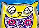 """ACEO Original """"Cat Loves Owl"""" 2.5 x 3.5 Abstract Painting Samantha McLean"""