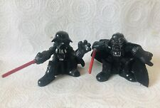 """Two 3"""" Plastic Darth Vader Figurines VGC one keyring one with removable helmet"""