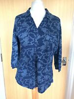 Fat Face Ladies Top Blouse 18 Navy Floral Shirt Summer Casual Day New Jersey £32