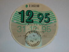 Collectable UK Road Tax Disc Dec 1995 (12 95 Fund Licence Expired Old Used)