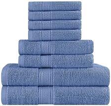 Premium 8 Piece Towel Set (Electric Blue); 2 Bath Towels, 2 Hand Towels and 4 Wa