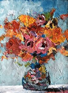 """ACEO ATC Signed Print """"Gaity"""" Art Artist Trading Card Flowers Floral FREE Ship"""