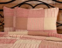 SAWYER MILL RED Standard Sham Patchwork Farmhouse Tan Stripe Check VHC 21x27