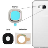 For Samsung Galaxy J7 2016 Back Camera Lens Glass Frame + Adhesive Silver J710F