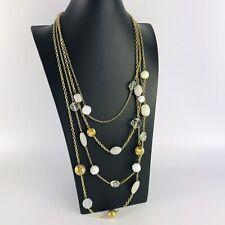 Gold Tone Multi Strand Grey Beads Statement Necklace Costume Jewellery Boho Arty