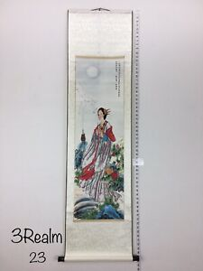 Beautiful Chinese Lady Holding Incense Praying Painting Paper Scroll Silk 62""