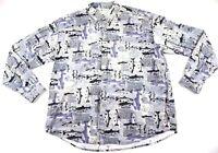 COLUMBIA Brook Trout Fishing Long Sleeve Shirt Mens Sz XL White Blue LS