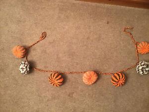 Handmade Crochet Pumpkin Garland Halloween Party Bunting Autumn  Decorations