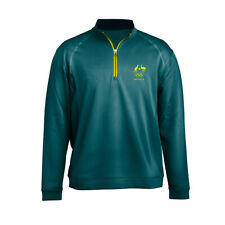 AOC Australian Olympic Adults S Supporter Elite Training Top Long Sleeve Green