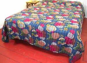 Handmade Fruit Print Kantha Quilt Double Size Throw Blanket Indian Bedspread New