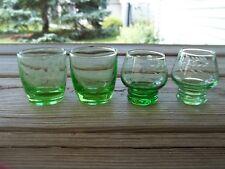 """Vtg 4 GREEN Vaseline Depression Glass Etched Floral ROLY POLY Cordials 1.3/4"""""""