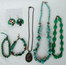 Turquoise Green Jade Jewelry LOT 6 pcs Berebi Earrings 2 Bracelets 3 Necklaces