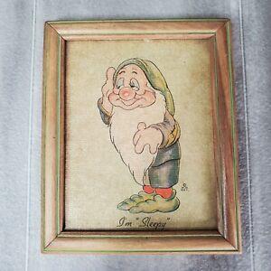 """Vintage Walt Disney Ent. Sleepy Dwarf """" I'm Sleepy """" Mini Canvas Print 4.75x5.75"""