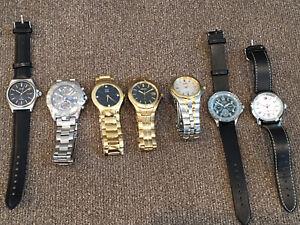 Lot of 7 Running Men's Watches Esq Eco-Drive Seiko Pulsar Hilfiger Guess