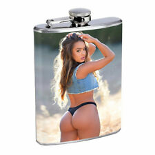 Farmers Daughter Pin Up Girl D7 Flask 8oz Stainless Steel Hip Drinking Whiskey