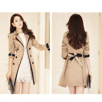 Women's Double Overcoat Breasted Slim Fit Jacket Trench Long Coat Parka Outwear