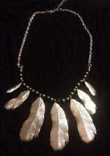 Feathers Necklace Silvertone Hanging