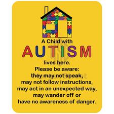 Autistic Individual Lives Here Vinyl Decal Sticker Help Alert Responders
