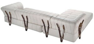 """138"""" W oversize sofa sectional Italian white leather steel frame exotic wood"""