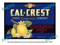OLD LARGE HISTORIC PHOTO OF RIVERSIDE CALIFORNIA, CAL CREST LEMONS POSTER c1930