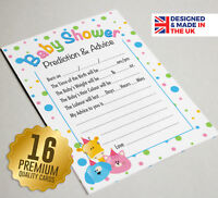 Baby Shower Prediction & Advice Game - 16 A6 Party Cards - Cute Animal Design