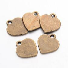 10 Metal Stamping Blanks Heart Charms Antiqued Bronze Pendants Tags