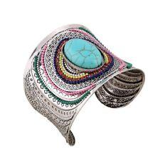 Silver Gem Vintage Jewelry Ethnic Cuff Beads Women Bracelets Turquoise Bangle