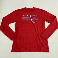 Fanatics T-Shirt Mens S Red Long Sleeve Crew Neck Washington Capitals Ice Hockey