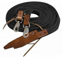 Showman 8 ft BLACK Flat Braided Nylon Reins W/ Leather Popper Ends! HORSE TACK!