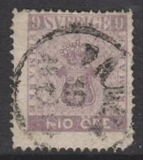 More details for sweden - 1858/72, 9 ore pale purple stamp - used - sg 7a