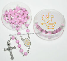 12 PC FIRST COMMUNION CALIZ ROSARY PINK ROSARIES RECUERDOS COMUNION GIRL FAVORS