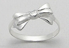8mm Wide Solid Sterling Silver Delicate Bow Ring Size 9 ADORABLE